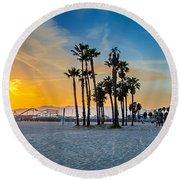 Santa Monica Sunset Round Beach Towel