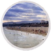 Santa Monica Sunset Panorama Round Beach Towel