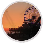 Santa Monica Sunset Round Beach Towel by Suzanne Oesterling