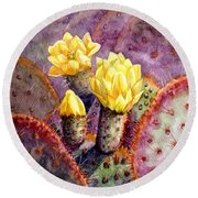 Round Beach Towel featuring the painting Santa Rita Prickly Pear Cactus by Marilyn Smith