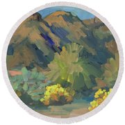 Round Beach Towel featuring the painting Santa Rosa Mountains And Brittle Bush by Diane McClary