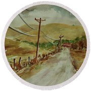 Round Beach Towel featuring the painting Santa Teresa County Park California Landscape 3 by Xueling Zou