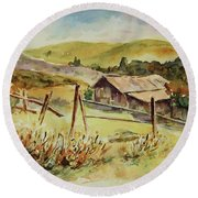 Round Beach Towel featuring the painting Santa Teresa County Park California Landscape 4 by Xueling Zou