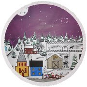 Santa Under The Little Dipper Round Beach Towel