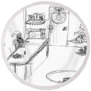Round Beach Towel featuring the drawing Santas Chrismassy Office by Artists With Autism Inc