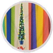 Santa's Christmas Tree Round Beach Towel