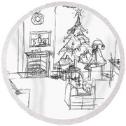 Round Beach Towel featuring the drawing Santas Delivery by Artists With Autism Inc