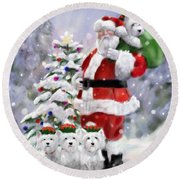 Santa's Helpers Round Beach Towel