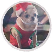 Round Beach Towel featuring the photograph Santa's Little Helper by Laurie Search