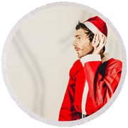 Round Beach Towel featuring the photograph Santas Little Helper Listening To Christmas Orders by Jorgo Photography - Wall Art Gallery