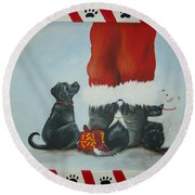 Santa's Little Helpers Round Beach Towel