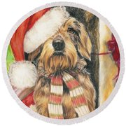 Round Beach Towel featuring the drawing Santas Little Yelper by Barbara Keith