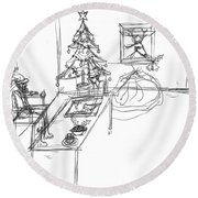 Round Beach Towel featuring the drawing Santas Office by Artists With Autism Inc