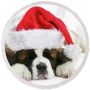 Santa's Snoozing Saint Bernard Round Beach Towel