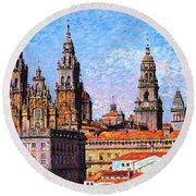Santiago De Compostela, Cathedral, Spain Round Beach Towel