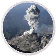 Santiaguito Ash Eruption, Guatemala Round Beach Towel
