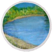 Santiam River - Summer Colorful Original Landscape Round Beach Towel