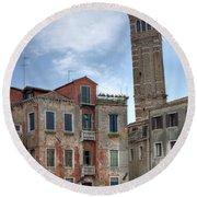 Santo Stefano Venice Leaning Tower Round Beach Towel