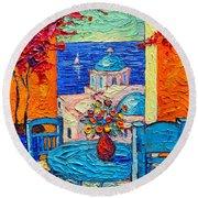 Santorini Dream Greece Contemporary Impressionist Palette Knife Oil Painting By Ana Maria Edulescu Round Beach Towel
