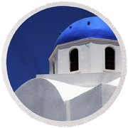 Round Beach Towel featuring the photograph Santorini Greece Architectual Line 2 by Bob Christopher