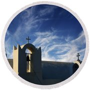 Round Beach Towel featuring the photograph Santorini Greece Architectual Line 3 by Bob Christopher