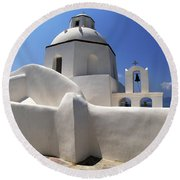 Round Beach Towel featuring the photograph Santorini Greece Architectual Line 4 by Bob Christopher