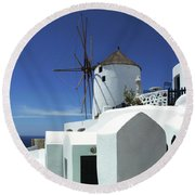 Round Beach Towel featuring the photograph Santorini Greece Architectual Line 5 by Bob Christopher