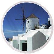 Santorini Greece Architectual Line 5 Round Beach Towel by Bob Christopher