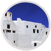 Round Beach Towel featuring the photograph Santorini Greece Architectual Line 6 by Bob Christopher