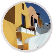 Round Beach Towel featuring the photograph Santorini Greece Architectual Line by Bob Christopher