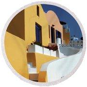 Santorini Greece Architectual Line Round Beach Towel by Bob Christopher
