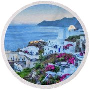 Santorini Greece Dwp416136  Round Beach Towel