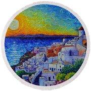 Santorini Oia Sunset Modern Impressionist Impasto Palette Knife Oil Painting By Ana Maria Edulescu Round Beach Towel