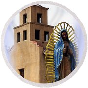 Round Beach Towel featuring the photograph Santuario De Guadalupe Santa Fe New Mexico by Kurt Van Wagner