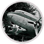 Classic Aircraft Douglas Dc-3 Round Beach Towel