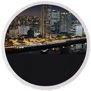 Sao Paulo Iconic Skyline - Cable-stayed Bridge  Round Beach Towel