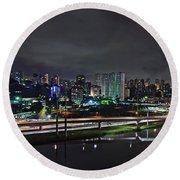 Sao Paulo Skyline - Ponte Estaiada Octavio Frias De Oliveira Wit Round Beach Towel