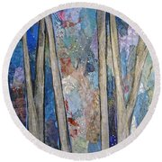 Sapphire Forest I Round Beach Towel
