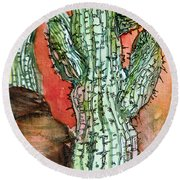 Saquaros Round Beach Towel by Mindy Newman