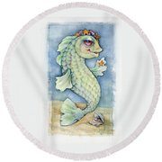 Round Beach Towel featuring the painting Sarafina Seabling by Lora Serra