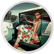 Sarah Belair Round Beach Towel by Jerry Golab