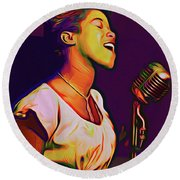 Sarah Vaughn Round Beach Towel