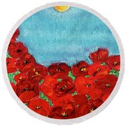 Sarah's Poppies Round Beach Towel
