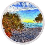 Round Beach Towel featuring the photograph Sarasota Beach Florida by Joan Reese