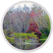 Round Beach Towel featuring the photograph Sarasota Reflections by Madeline Ellis