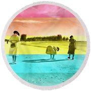 Round Beach Towel featuring the painting Sarasota Series Beachcombers by Edward Fielding