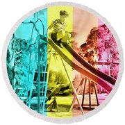 Round Beach Towel featuring the painting Sarasota Series Trailer Park Playground by Edward Fielding