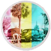 Round Beach Towel featuring the painting Sarasota Series Wash The Car by Edward Fielding