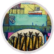 Round Beach Towel featuring the painting Sardines by Mikhail Zarovny
