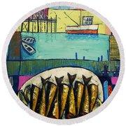Sardines Round Beach Towel by Mikhail Zarovny